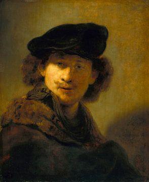 Selbstbildnis mit Samtbarett, Rembrandt van Rijn