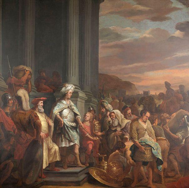 König Cyrus übergibt den gestohlenen Schatz aus dem Tempel von Jerusalem, Ferdinand Bol, 1655 - 1669 von Marieke de Koning