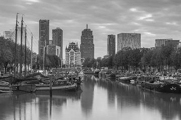 Haringvliet Rotterdam in zwartwit sur