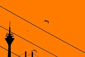 Rijntoren Düsseldorf Silhouet Oranje van Die Farbenfluesterin