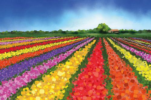 Landschapsschilderij van Nederlandse tulpenvelden met een boerderij