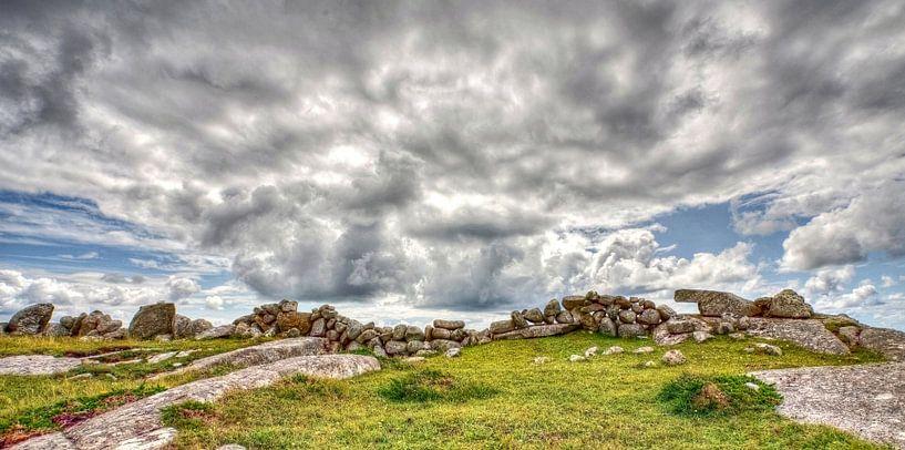 Rotsmuur bij Gurteen Bay, Ierland van Hans Kwaspen