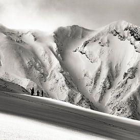Into the wild in Japan. Groots bergachtig landschap in Zwart Wit van Hidde Hageman