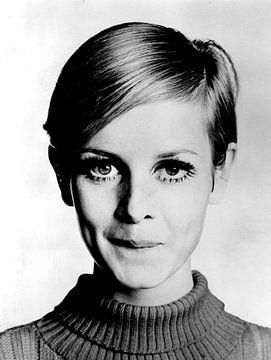 Het model Twiggy, 1966 (z/w foto) van Bridgeman Images