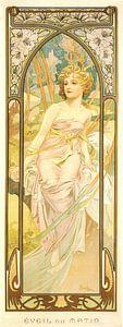 Tijden van de Dag: Ochtend Ontwaken - Art Nouveau Schilderij Mucha Jugendstil