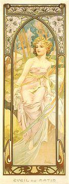 Tijden van de Dag: Ochtend Ontwaken - Art Nouveau Schilderij Mucha Jugendstil sur