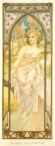 Tijden van de Dag: Ochtend Ontwaken - Art Nouveau Schilderij Mucha Jugendstil van Alphonse Mucha