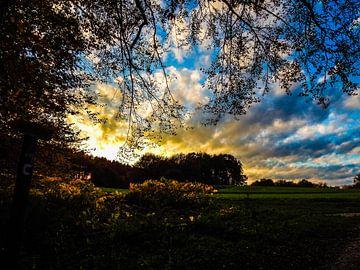 Sonnenuntergang im Teutoburger Wald van Tobi Bury