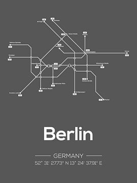 Berlijn Metrolijnen Donkergrijs van Michelle van Seters