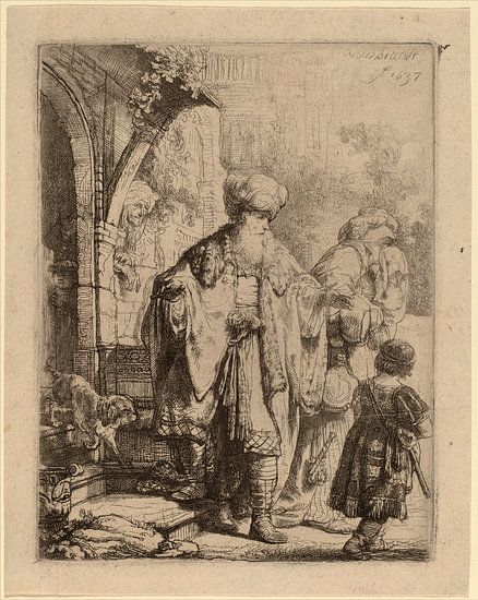 Rembrandt van Rijn  Abraham, Hagar en Ismaël van Rembrandt van Rijn