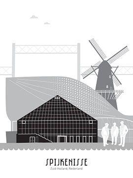 Skyline illustratie stad Spijkenisse zwart-wit-grijs van Mevrouw Emmer