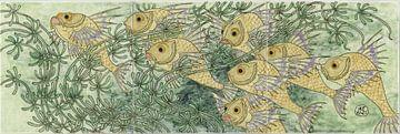 Art deco yellow fish van Renske Schut