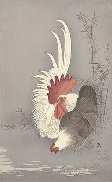 Haan en kip van Ohara Koson