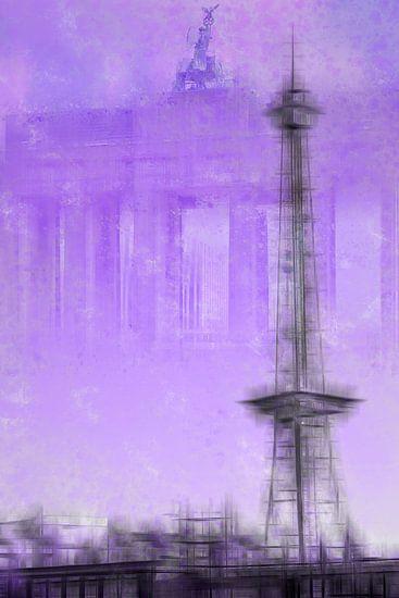 City-Art BERLIN Radio Tower & Brandenburg Gate | purple