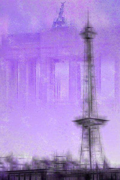 City-Art BERLIN Radio Tower & Brandenburg Gate | purple van Melanie Viola