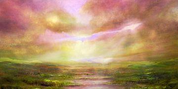 Verwachting - de zon en een groene vallei. van Annette Schmucker