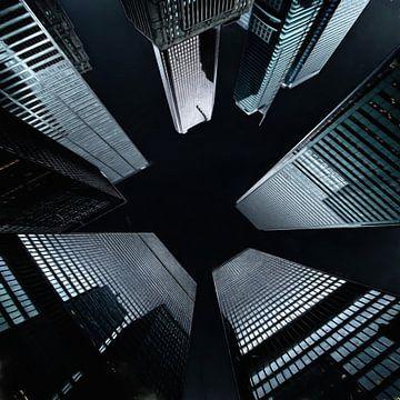 Wolkenkrabbers bij nacht van Maurice Dawson