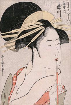Kitagawa Utamaro. De courtisane Takigawa van Ogiya van