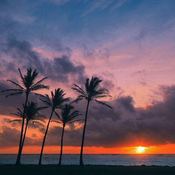 Sunrise at Kapaa Beach Park, Kauai, Hawaii von Henk Meijer Photography