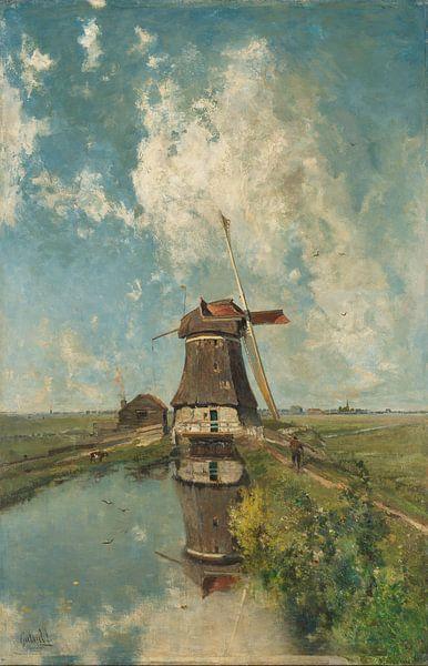 Een molen aan een poldervaart, Paul Joseph Constantin Gabriël van Meesterlijcke Meesters