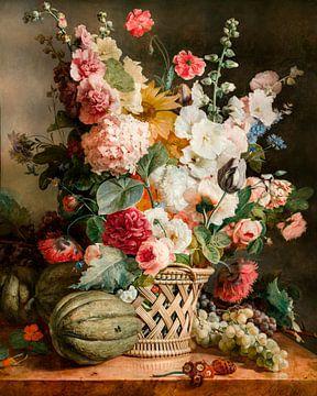 Fruit en bloemen in een wilgenmand, Antoine Berjon