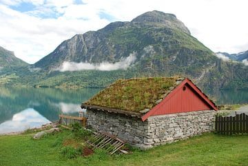 Schuur aan meer in Noorwegen. von