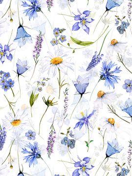 Blaue Wildblumen Wiese von Uta Naumann