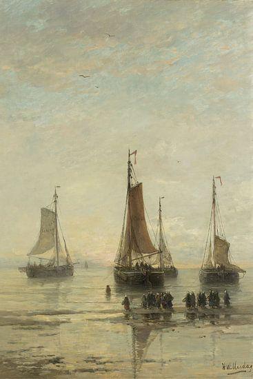 Schilderij schepen - Scheveningse bommen voor anker, H.W. Mesdag