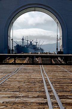 Fregat in San Francisco aan Pier 39 Fishermans Wharf van