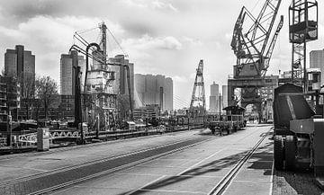 Leuvehaven in zwart-wit von Henry van Schijndel