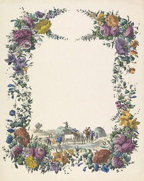 Grußbrief mit Blumengirlande und einem Heuwagen von Anonymous 1829 - 1880