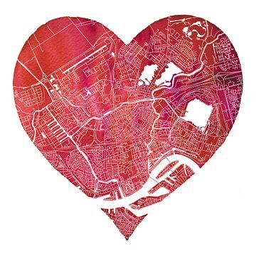 Rotterdam Nord est dans mon coeur | Carte de la ville sur - Wereldkaarten.shop -