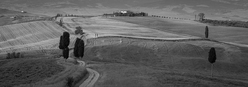 Monochrome Tuscany in 6x17 format, Agriturismo A Terrapille van Teun Ruijters