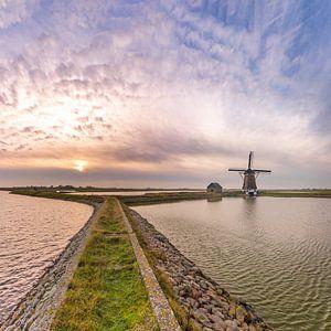 Molen het Noorden Texel zonsondergang vierkant