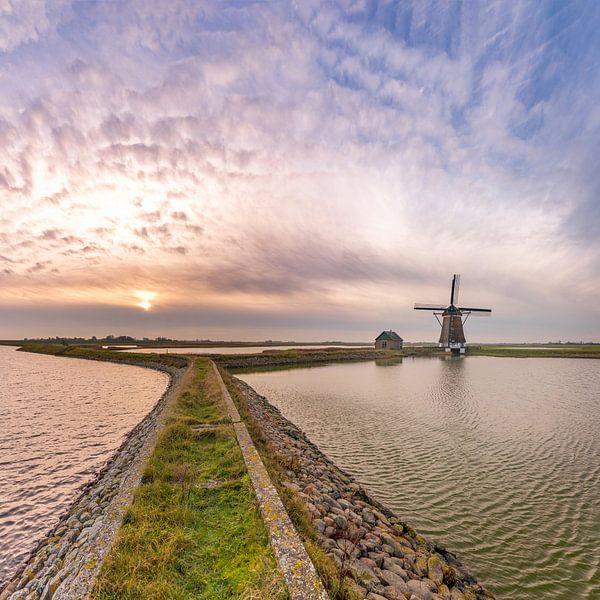 Molen het Noorden Texel zonsondergang vierkant van Texel360Fotografie Richard Heerschap