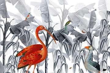 Jungle tuin met tropische vogels von Studio POPPY