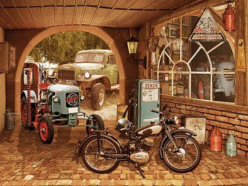 Nostalgische werkplaats met tractor en motorfiets