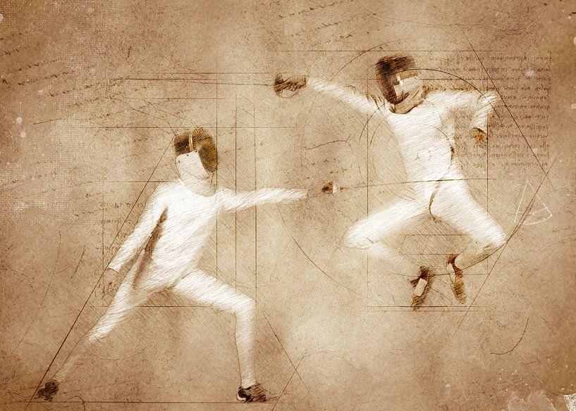 schermsport kunst #schermen #sport van JBJart Justyna Jaszke
