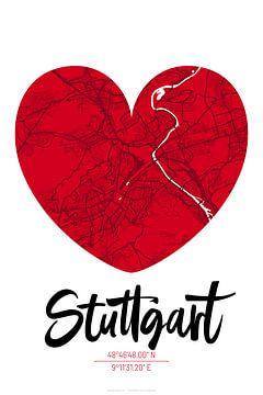 Stuttgart - Stadsplattegrondontwerp Stadsplattegrond (hart) van ViaMapia