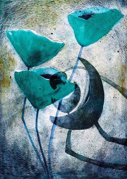 Peinture Poppy -. Abstraction Poppy Demandez Schöllershammer n ° 12, peinture, art, rouge coquelicot sur Christine Nöhmeier