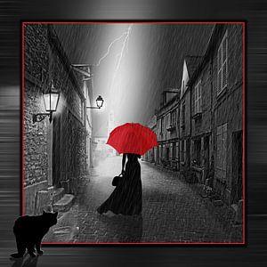 Die Frau mit dem roten Regenschirm, Variante 2 im quadratischen Format von