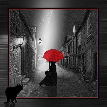 De vrouw met de rode paraplu, variant 2 in vierkant formaat van