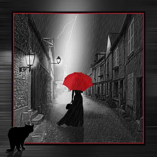 De vrouw met de rode paraplu, variant 2 in vierkant formaat van Monika Jüngling