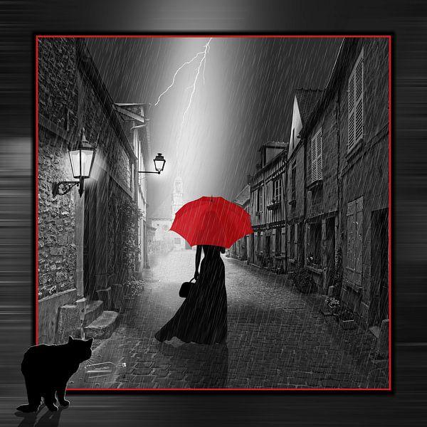 De vrouw met de rode paraplu, variant 2 in vierkant formaat