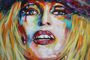 Brigitte Bardot Face van Kathleen Artist Fine Art