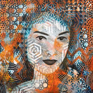 Portret vrouw met abstracte patronen van Lida Bruinen