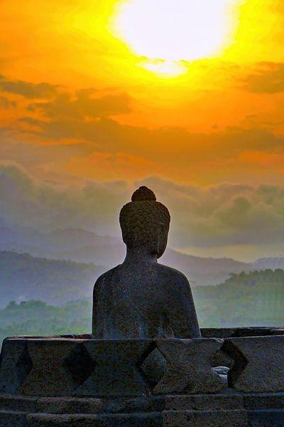 Silhouet Buddha bij zonsondergang van Eduard Lamping