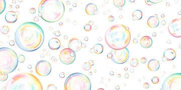 Schwebende Seifenblasen in Bleistift und Pastell von Sorcia Gelauff-Madge