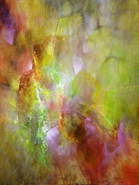 Das Licht - Komposition in grün, gelb und einer Spur pink von Annette Schmucker