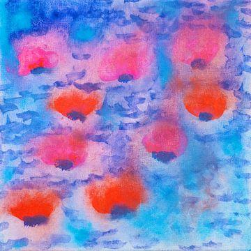 Gouache schilderij waterlelies op blauw water van Beate Gube